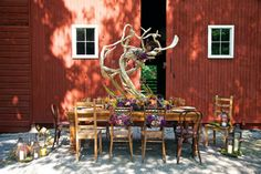 From our farm table feature, shot at Shadow Lawn in High Falls, featured in Westchester/Hudson Valley Weddings 2013 issue: a tablescape by Damselfly Designs in Tuckahoe. Photography by Andre Baranowski.