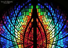 Our Lady of Guadalupe (the old City National Bank building), located on 7th Street, in Plainview, has this most amazing stained glass trilogy.