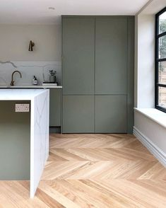 A shelf, cupboard handles, brass sockets, bar stools and we're nearly there. Home Decor Kitchen, Kitchen Interior, Home Kitchens, Green Kitchen, New Kitchen, Cocinas Kitchen, Handleless Kitchen, Victorian Terrace House, Cupboard Handles