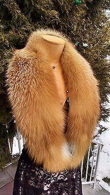 NATURAL CANADIAN RED  FOX FUR MINI STOLE SHAWL COLLAR WRAP Made in the USA