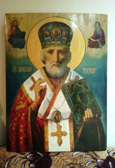 St. Nicholas   icon handpainted of hot colors directly on solid wood