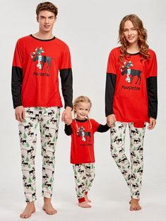 Elk Printed Long Sleeve Matching Family Christmas Pajama - RED .  christams   christmaspajamas   3a8e0ee68