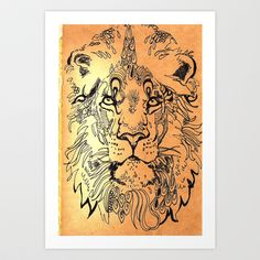 """Many waters can not quench His passion for you, He has a violence of zeal that is a force to be reckoned with,""""Love is a force"""" THE KING IS IN LOVE WITH YOU TODAY...Lion elaborate Art Print by Aeron Brown - $17.68"""