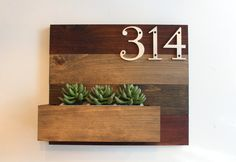 House Number Plaque and Planter // Wood Wall Planter // Address Plaque &…
