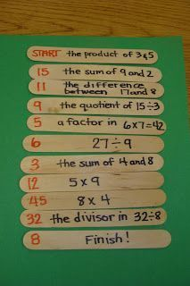 SOLO STATION ACTIVITY or I HAVE WHO HAS GROUP GAME: Mental math game. question in black and answer in red. align them in order! see how fast you can do it. you can write any type of fact they are working on.adapt for ms with algebra. Math Strategies, Math Resources, Math Activities, Math Teacher, Math Classroom, Teaching Math, Daily 5 Math, Fourth Grade Math, Math Intervention