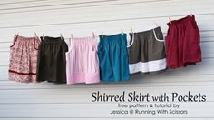 shirred skirt with pockets