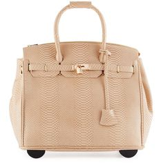 Kc Jagger Ainsley Snake-Embossed Faux-Leather Rolling Bag ($147) ❤ liked on Polyvore featuring bags, luggage and natural