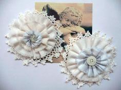 2x Shabby Blume Vintage Retro Nostalgie Spitze Perle Knopf Landhaus Handarbeit