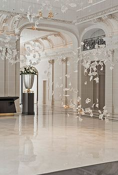 A white-dominated interior at the new Peninsula Paris