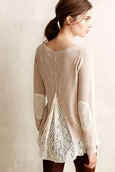 "Lacescape Pullover - <a href=""http://anthropologie.com"" rel=""nofollow"" target=""_blank"">anthropologie.com</a> I don't know if the fit would work, but I like the look"