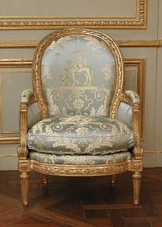 Armchair (Bergère) (one of a pair) (part of a set) Maker Louis Delanois (French, 1731 ca French, Paris, Carved and gilded mahogany, modern silk damask is part of Louis xvi chair - French Furniture, Classic Furniture, Furniture Styles, Luxury Furniture, Antique Furniture, Furniture Websites, Office Furniture, Furniture Design, Painted Chairs