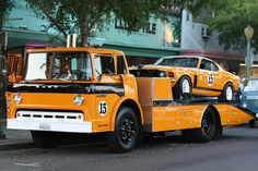 Vintage Trans Am Mustang on a Ford Racing car hauler Vintage Race Car, Vintage Trucks, Retro Vintage, Cool Trucks, Big Trucks, Tow Truck, Truck Icon, Tonka Trucks, Fire Truck