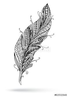 Artistically drawn stylized feather on a vector by Julia_Snegireva on VectorStock® Feather Drawing, Feather Tattoo Design, Feather Tattoos, Tatoos, Tribal Feather, Feather Art, Quilling Patterns, Zentangle Patterns, Tatoo Henna