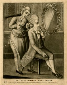 'The Lilly-White Maccaroni', a mezzotint published by Carington Bowles in London, c. 1766-1799. A Macaroni 'gazes' at his reflection whilst his hairdresser attaches a queue (braid or ponytail of hair) to his wig.