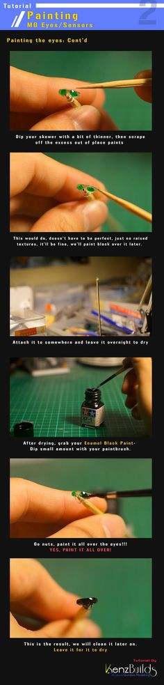 This tutorial will teach you how to paint the clear eyes/sensors that comes with your MG kits using a technique not much knows