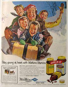 Family Sledding - 1958 Watkins Vitamins Ad ~ Young At Heart