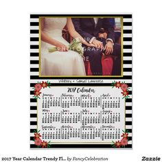 2017 Year Calendar Trendy Floral Stripes | Add Photo Personalized Wall Poster