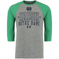 Under Armour Notre Dame Fighting Irish Gray Baseball Tri-Blend Three-Quarter Sleeve Performance T-Shirt