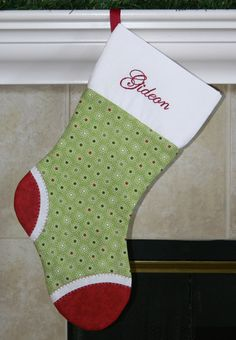 Boys or girls green and red personalized Christmas stocking. Dots. Polkadots. CUSTOM