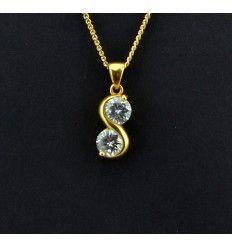 """S formet """"guld"""" vedhæng med 2 sten - 919309"""
