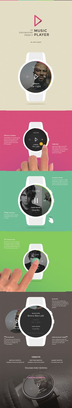 SMART WATCH MUSIC PLAYER - A conceptual and exploratory music application for a smartwatch. / by Amit Jakhu #smartwatch #app #behance Android Wear, User Interface Design, Ui Ux Design, Interactive Design, Mobile Watch, Ui Patterns, Music App, Ui Design Inspiration, User Experience Design