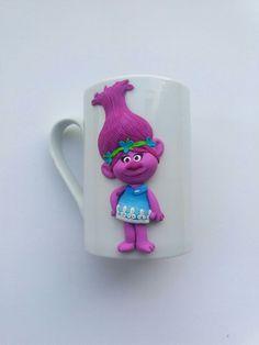 Troll Poppy polymer clay mug