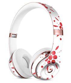The Abstract Red Flower Pedals Full-Body Skin Kit for the Beats by Dre Solo 3 Wireless Headphones