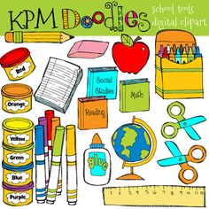 INSTANT DOWNLOAD School Tools digital clipart von kpmdoodles