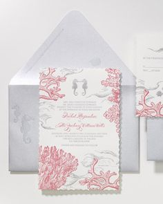Perfect for an oceanside wedding, this invitation features an underwater design with a seahorse icon. Even the tiniest graphic touch can suggest the romance of travel. Stationery by Grapevine Paperie.