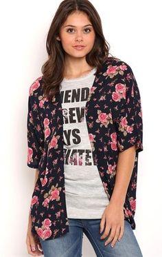 Deb Shops Floral Print Crepe #Kimono $15.00