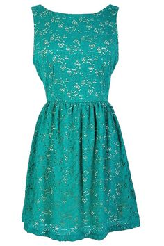 Chic Teal Lace Overlay Dress