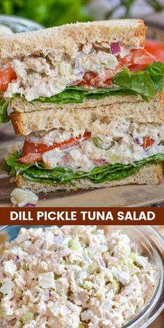 DILL PICKLE TUNA SANDWICHES Sandwiches dont have to be simple to be scrumptious In fact the right sandwich can be an entire meal unto itself Sandwiched between two slices. Healthy Eating Recipes, Healthy Foods To Eat, Lunch Recipes, Salad Recipes, Easy Recipes, Healthy Rice, Fast Foods, Rice Recipes, Empanadas