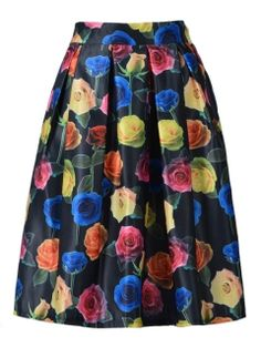 Shop Multicolor Rose Print Midi Skirt in Black from choies.com .Free shipping Worldwide.$15.99