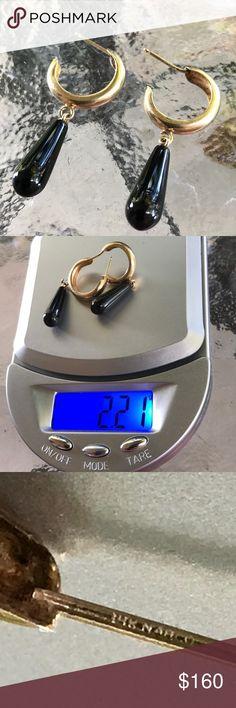14K Dangle onyx earrings! 14k onyx earrings, stamped, NO backs! Jewelry Earrings