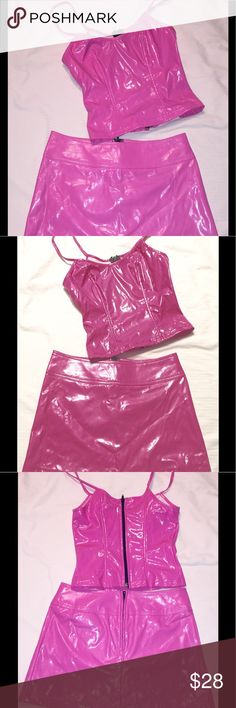 Hot Pink Vinyl skirt & bustier top Cyber Goth PVC Lip Service - sizes on both pieces are Petite. Skirt was worn twice, and there is a small darkened area near zipper -see pic. Bright bubblegum pink. A great extra set to add to your mix and match wardrobe. R/N # both pieces 79627  Skirt style 10-189, cut # 13617, 12.5 in long, 13.5 across waist, 18.5 across hemline. Top style # 38-129, cut# 13621, chest 14 in across, waist 11.5 across, 13.5 across bottom. 11 in back length, 10 in front…