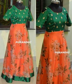 Organza Floral Printed floor length cold shoulder gown. For more details contact on whats app : 9701673187 Email : purandhistore@gmail.com Long Gown Dress, Long Frock, Frock Dress, Organza Dress, Anarkali Dress, Lehenga, Ikkat Dresses, Frock For Women, Frock Fashion