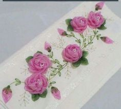 This Pin was discovered by İnc Diy Ribbon Flowers, Lace Ribbon, Ribbon Work, Ribbon Crafts, Fabric Flowers, Towel Embroidery, Silk Ribbon Embroidery, Embroidery Stitches, Embroidery Patterns