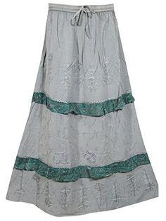 Women's Skirt Grey Floral Embroidered Stonewashed Rayon Hippie Gypsy Skirt Mogul Interior http://www.amazon.com/dp/B011IBFMKM/ref=cm_sw_r_pi_dp_K1oPvb12V3PTW