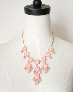 Baby Pink Clear Bubble Statement Bib Necklace by AnneEmmaJewelry, $9.80