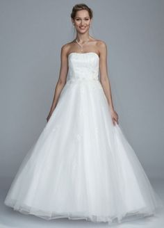 Strapless Tulle Ball Gown with Beaded Bodice - Wedding Dresses by David's Bridal Collection - Loverly