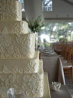 Cake with detailing - like the varying shades of white/cream instead of color.