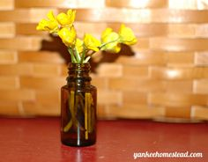 Empty essential oil bottles make perfect mini vases for tiny bouquets! #EO #minivase