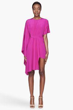 MAISON MARTIN MARGIELA Fuchsia draping silk asymmetric Short Dress