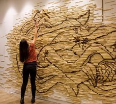 """""""Oomf...reeeeach!!!"""" Blow-torched a mural of chopsticks for Facebook in their… For Facebook, Chopsticks, Antelope Canyon, Installation Art, Instagram Posts, Artworks, Red, Space, Floor Space"""