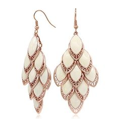 Kemstone White Plated Zinc Alloy Rose Gold Plated Dangle Earrings Filigree Plumage Jewelry for Women -- Continue to the product at the image link.(This is an Amazon affiliate link and I receive a commission for the sales)