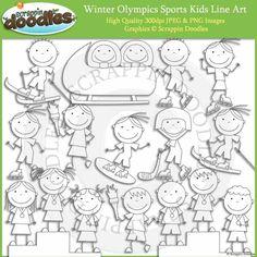 Winter Olympics Sports Kids Line Art Winter Olympic Games, Winter Games, Winter Olympics, Winter Art Projects, Kids Line, Olympic Sports, Kids Sports, Art Activities, Holiday Crafts