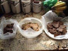 """Every week I try out new flavors of my raw, vegan energy bars. These bars are loaded with nutritious ingredients that provide you with all of the vitamins and food groups you need throughout the whole day. Here I have """"chocolate peanut butter"""", """"mango pinapple"""", and """"banana walnut""""."""