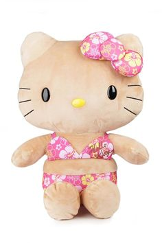 Take Hello Kitty along with you as you enjoy the summer sun. This supersoft plush has an all-over tan and features Hello Kitty in her adorable flower swimsuit. She's a great size for cuddles as well! A fun addition to any Hello Kitty collection.