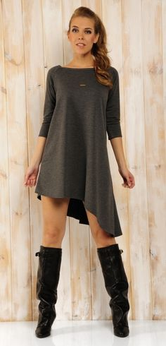 Rochie moderna, din bumbac, de lungime asimetrica - rochie lungime asimetrica, rochie maneci trei sferturi, rochie casual