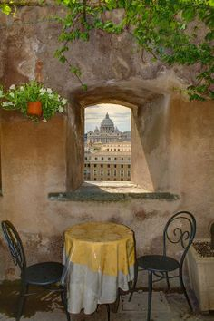 View from cafe in Castel Sant' Angelo, Italy . San Pietro by Jordan Savoff
